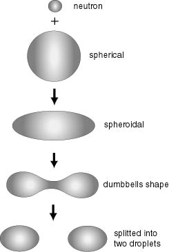 nuclear fission (english) diagram of liquid drop model